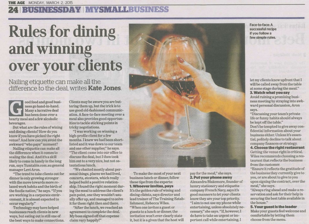 The Age Wining and Dining clients The Training Establishment Rebecca Wiles 1300755724