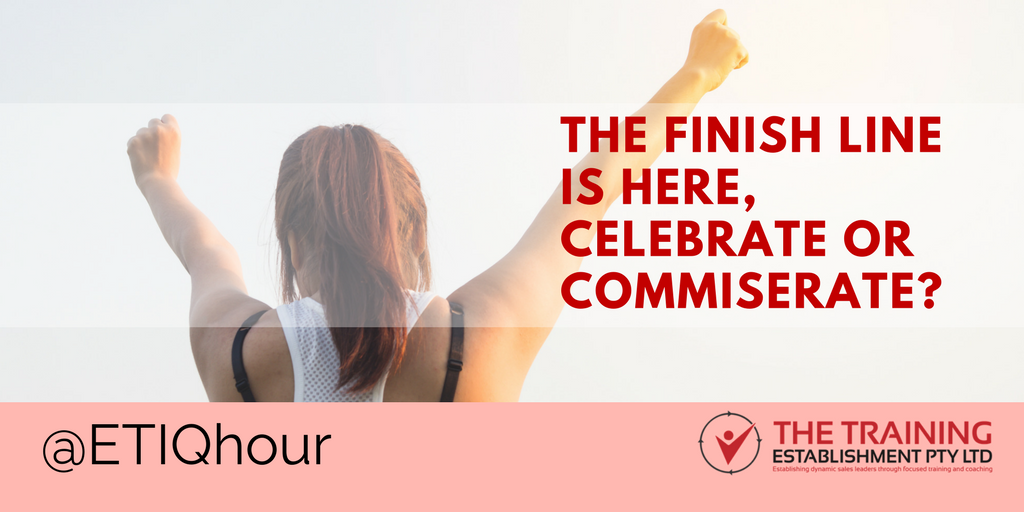 @ETIQhour – The finish line is here, celebrate or commiserate?